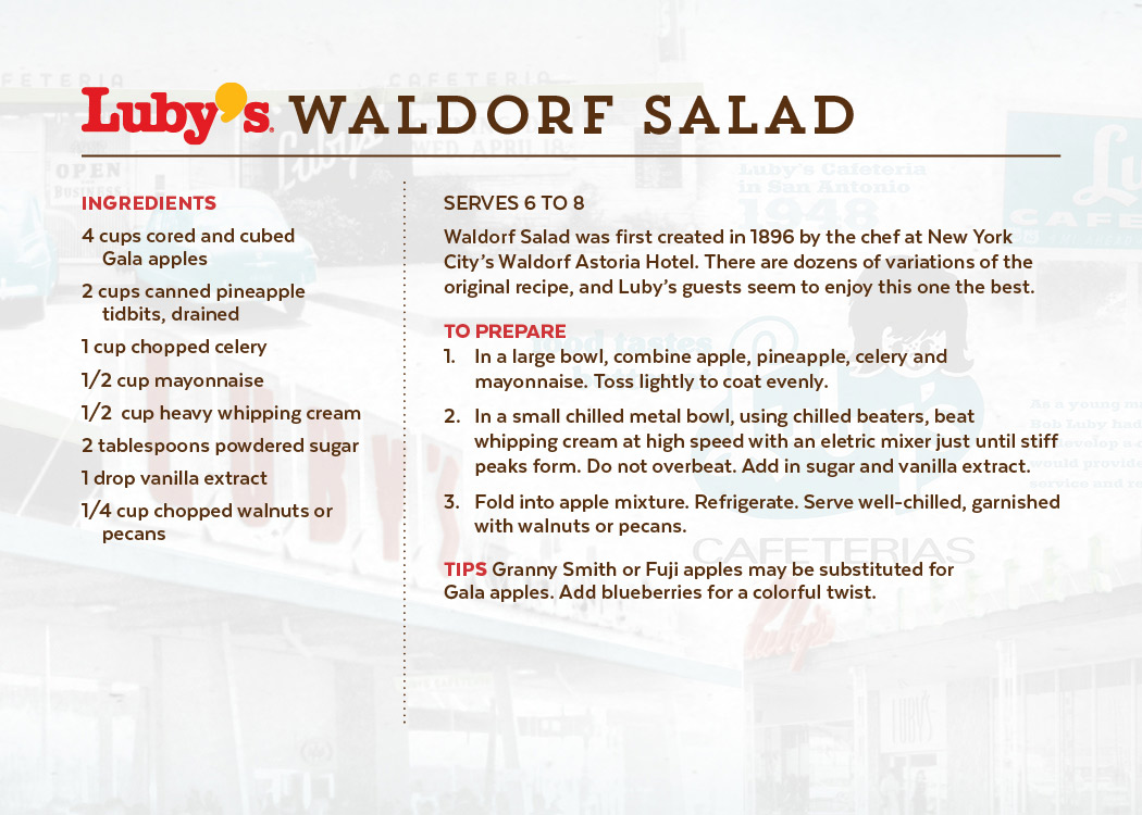 Waldorf Salad Front of Recipe Card